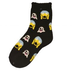 Alexa Rose Big Girls Black Yellow Emoticon Patterned Trendy Socks 9-11
