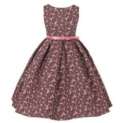 Kids Dream Little Girls Opera Mauve Rose Floral Jacquard Christmas Dress 2-6