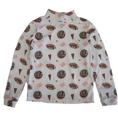 Little Boys White Red Taz All-Over Print Turtle Neck Cotton Top 4-7