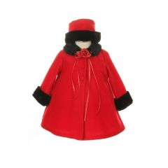 Kids Dream Red Fleece Faux Collar Stylish Coat Baby Girl 6-24M
