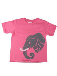 Girls Pink Pastel Elephant Graphic Print Short Sleeve Cotton T-Shirt 6-16