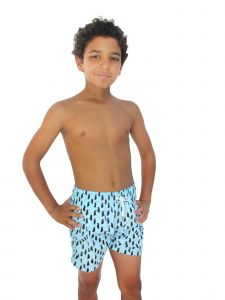 Azul Little Boys Blue Black Penguin Print Drawstring Tie Swimwear Shorts 2-6