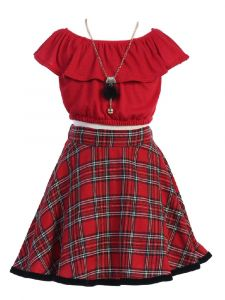 Just Kids Big Girls Red Top Plaid Skirt Necklace Christmas Outfit 8-14