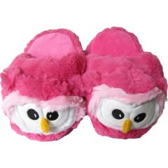 Kreative Kids Little Girls Pink White Owl Shaped Plush Slippers 12 Kids