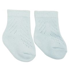 Piccolo Baby Girls Blue Eyelet Pattern Ribbed Cuff Knit Soft Socks 0-24M