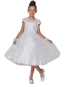 Big Girls White Pearl Accented Embroidered Junior Bridesmaid Dress 8-20