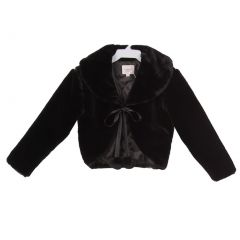 Girls Black Satin Ribbon Closure Peter Pan Collar Anti Peal Fur Coat 4-16