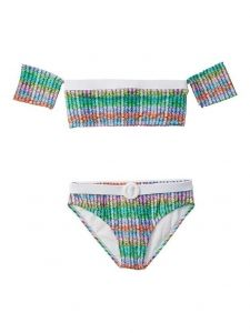 Azul Big Girls Multi Color Ripple Effect Sleeve 2 Pc Bikini Swimsuit 7-16
