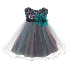 Kids Dream Baby Girls Teal Multi Sequin Tulle Special Occasion Dress 6-24M
