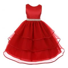 Chic Baby Little Girls Red Organza Overlaid Pearl Flower Girl Dress 4-6