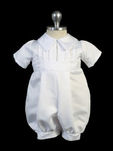 Baby Boys White Pin Tuck Short Sleeve Christening Outfit 3-24M