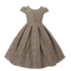 Kids Dream Little Girls Champagne Chantilly Jacquard Pleated Occasion Dress 2-6