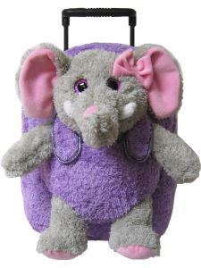 Kreative Kids Girls Purple Elephant Removable Plush Stuffed Animal Wheels Roller