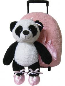 Kreative Kids Girls Pink Panda Removable Plush Stuffed Animal Wheels Roller