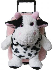 Kreative Kids Girls Pink Cow Removable Plush Stuffed Animal Wheels Roller