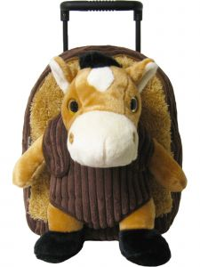 Kreative Kids Boys Brown Horse Removable Plush Stuffed Animal Wheels Roller