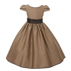 Kids Dream Big Girls Taupe Brown Trim Satin Flared Junior Bridesmaid Dress 8-14