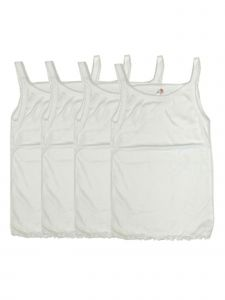 Baby Girls White Solid 4 Pack Cotton Camisole Undershirt Strap Tank Top 9-24M