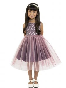 Kids Dream Little Girls Opera Mauve Floral Jacquard Illusion Christmas Dress 2-6