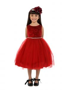 Kids Dream Big Girls Red Velvet Tulle Rhinestone Christmas Dress 8-12