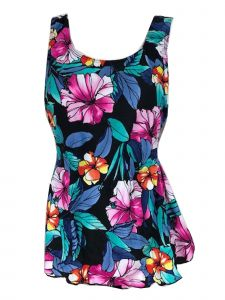 Deep Blue Women's Multi Tropical Floral One Piece Front Sarong Swimsuit 12-26