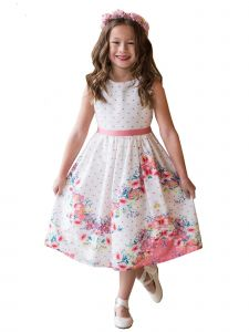 Kids Dream Little Girls White Coral Chevron Floral Cotton Easter Dress 2-6