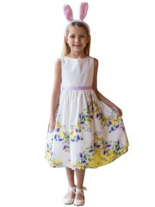 Kids Dream Little Girls White Yellow Chevron Floral Cotton Easter Dress 2-6