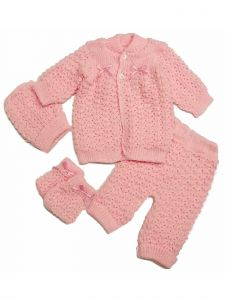 Abelito Baby Multi Color 4 PC Cardigan Sweater Crochet Outfit Set 0-3M