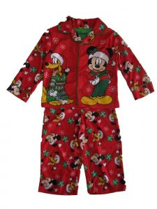 Disney Little Boys Red Green Mickey Pluto Christmas Print 2 Pc Pajama Set 2-4T