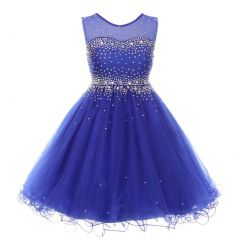 Little Girls Royal Blue Sparkling Rhinestone Illusion Tulle Party Formal Dress 4-6