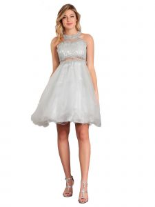 Big Girls Silver Rhinestone Halter Neck Lace Tulle Junior Bridesmaid Dress 8-20