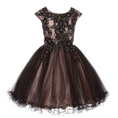 Little Girls Blush Black Rhinestone Embroidered Lace Flower Girl Dress 4-6