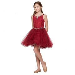 Little Girls Burgundy Rhinestone Colored Pearl Tulle Flower Girl Dress 4-6