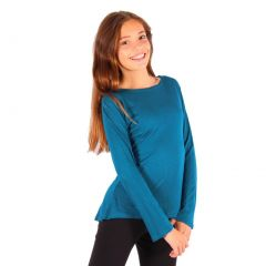 Lori&Jane Girls Teal Solid Color Hi-Low Long Sleeved Trendy T-Shirt 6-14