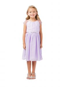 Big Girls Lilac Ilussion Short Sleeved Chiffon Junior Bridesmaid Dress 8-12