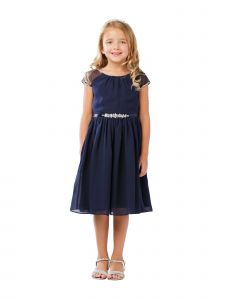 Little Girls Navy Ilussion Short Sleeved Chiffon Flower Girl Dress 4-6