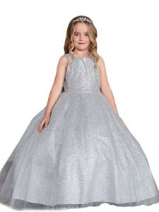 Big Girls Silver Sparkling Glitter Tulle Ombre Junior Bridesmaid 10