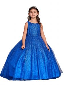 Big Girls Royal Blue Sparkling Glitter Tulle Ombre Junior Bridesmaid 10