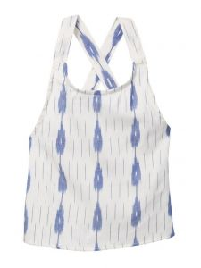 Azul Little Girls Blue White IKAT Criss Cross Sleeveless Top 2T-7