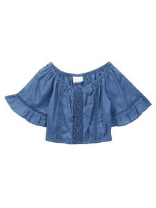 Azul Little Girls Blue Peasant Look Short Sleeve Lace Top 2T-7