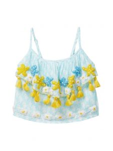 Azul Little Girls Aqua Sea Horse Embroidered Strap Ruffle Top 2T-10