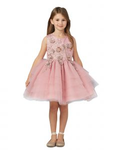 Tip Top Kids Big Girls Dusty Rose Lace Layered Tulle Pageant Easter Dress 8-14