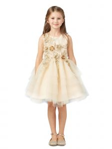 Tip Top Kids Big Girls Champagne Lace Layered Tulle Pageant Easter Dress 8-14