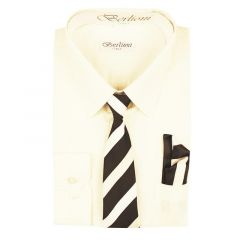 Berlioni Big Boys Off-White Striped Necktie Hanky 3 Pc Dress Shirt Set 8-20
