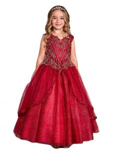Little Girls Burgundy Metallic Lace Applique Split Tulle Skirt Pageant Dress 4