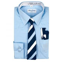 Berlioni Big Boys Light Blue Striped Necktie Hanky 3 Pc Dress Shirt Set 8-20