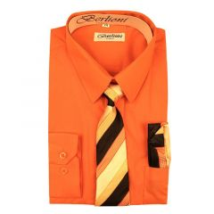 Berlioni Little Boys Orange Striped Necktie Hanky 3 Pc Dress Shirt Set 2-6
