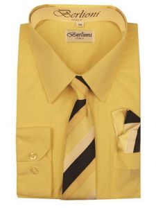 Berlioni Big Boys Lemon Striped Necktie Hanky 3 Pc Dress Shirt Set 8-20
