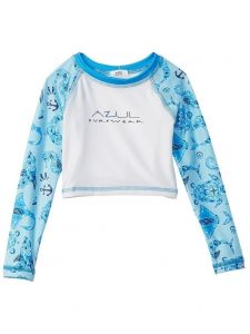 Azul Big Boys White Blue Sea Life Long Sleeve UV Protection Rash Guard 8-14