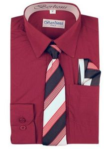Berlioni Little Boys Burgundy Striped Necktie Hanky 3 Pc Dress Shirt Set 2-6